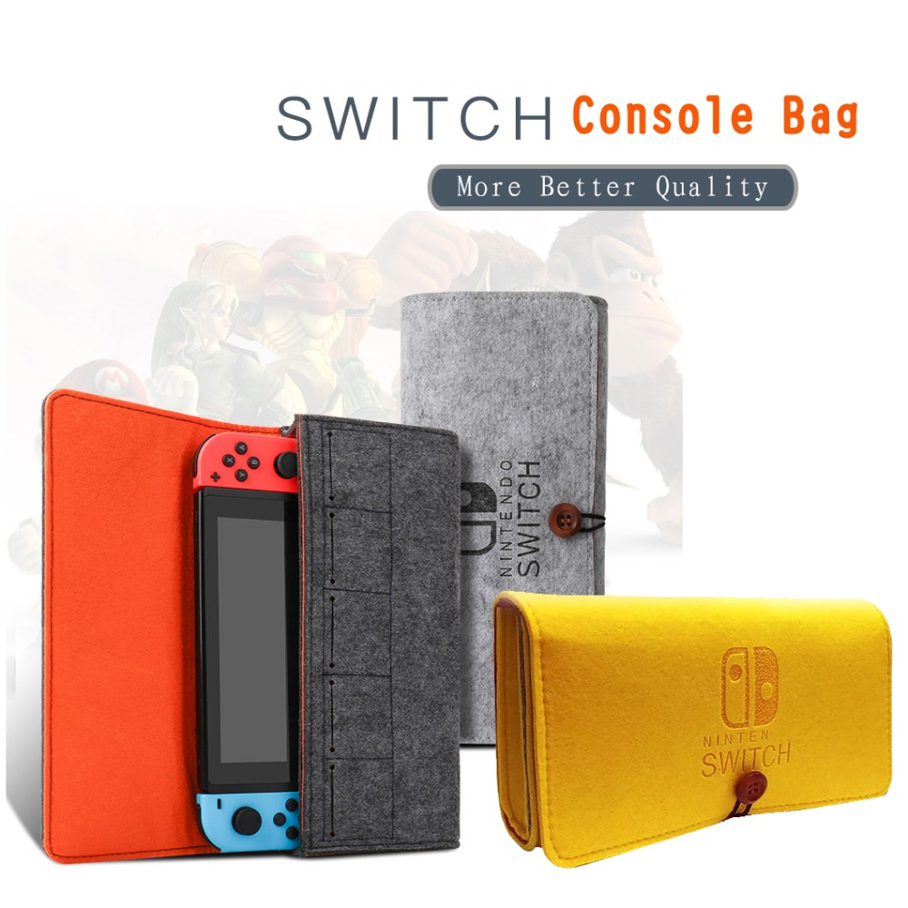 Storage Bag for Nintend Switch Console Pika Case Durable Carrying Case for Nintendos NS Switch Game Console Felt bag Accessories
