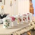 Seleccione Clásica China de Hueso tazas de Té Tazas Con Tapa Cuchara De Cerámica de Porcelana Taza de Café del Viaje Taza Vaso Para La Hora Del Té