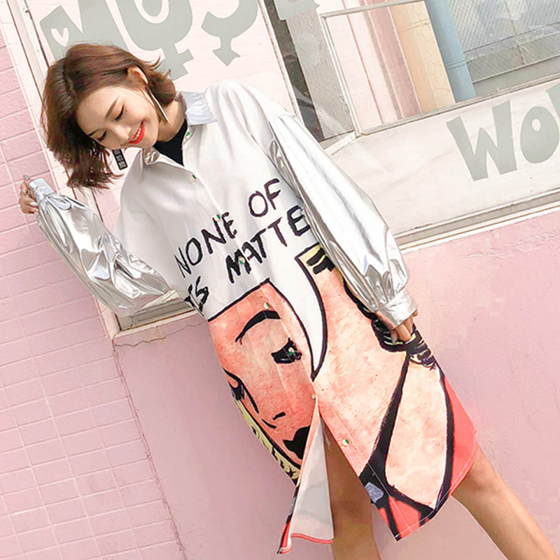 Plateado Down Collar Blusa Picture Cartoon Larga Turn Z133 Imprimir Oversize Moda Mujeres Femenina Carta Loose Color Primavera Manga Camisas 05x1XWY