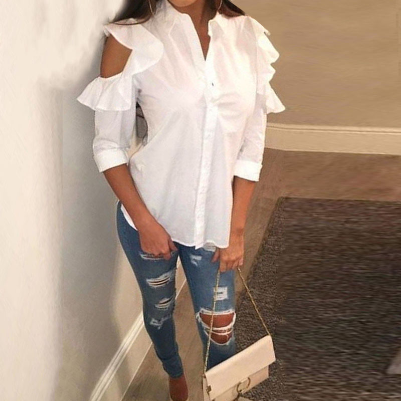2018 Oversized ZANZEA Sexy Lapel 3/4 Sleeve Hollow Out Shirt Summer Women Casual Solid Off Shoulder Ruffled Work Office Blouse