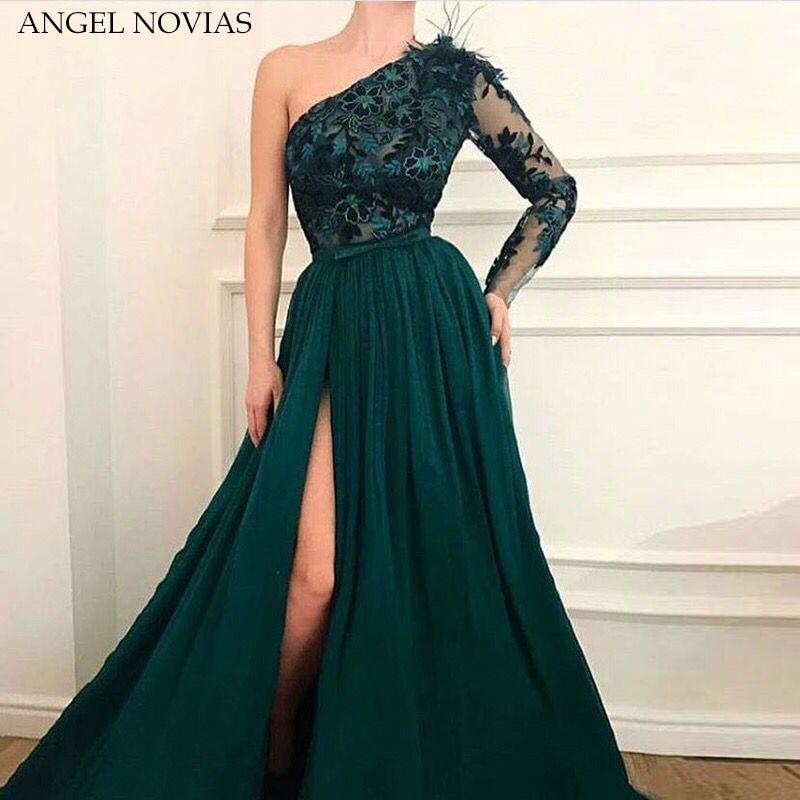 A Line One Shoulder Tulle Green Dubai Arab   Evening     Dress   2018 Long Prom   Dresses   Formal   Dress   Robe De Soiree with Slit