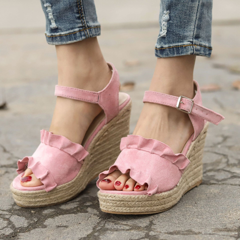 Wedges Heels Platform Sandals-Size Canvas-Buckle Fashion Summer Women New Casual 7N0694