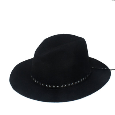Новая модная женская мужская шерстяная шляпа fedora фетровая Панама женская элегантная мягкая Шляпа Дерби мягкая фетровая шляпа с кожаным брендом - Цвет: Black