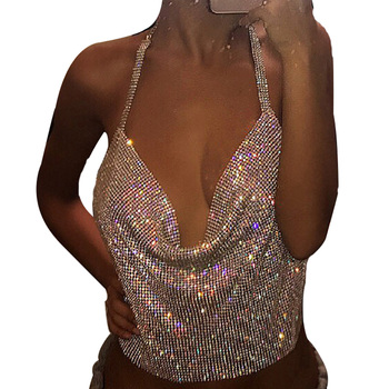 Elegant Metal Crop Top 2018 Summer Style Sexy Backless Bralette Beach Halter Gold Sequined Party Women Tank Top TP070301