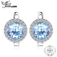 JewelryPalace 5.4ct Natural Sky Blue White Topaz Halo Clip Earrings Genuine 925 Sterling Silver Jewelry For Women Fashion Gift
