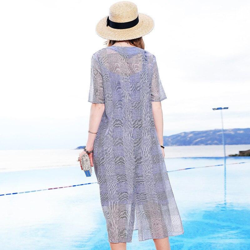 D'été ligne 2 Linge Office Party V Robe Nouvelles Chart Plaid Travail De Taille Pièce Lâche See Femmes La A Plus 2019 Lady Soie cou Beach Tencel qvwUgrq