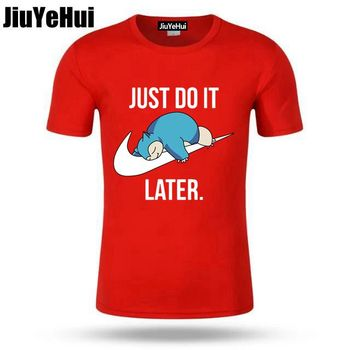 Just Do it Later Pokemon T-Shirt Reality Game Snorlax t shirt funny t shirt men clothing camisetas hombre short sleeve t-shirt