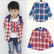 1-5Y Toddler child Kids Plaid Jacket Hooded Boys Long Sleeve Cotton Coat Shirts Tops for spring autumn