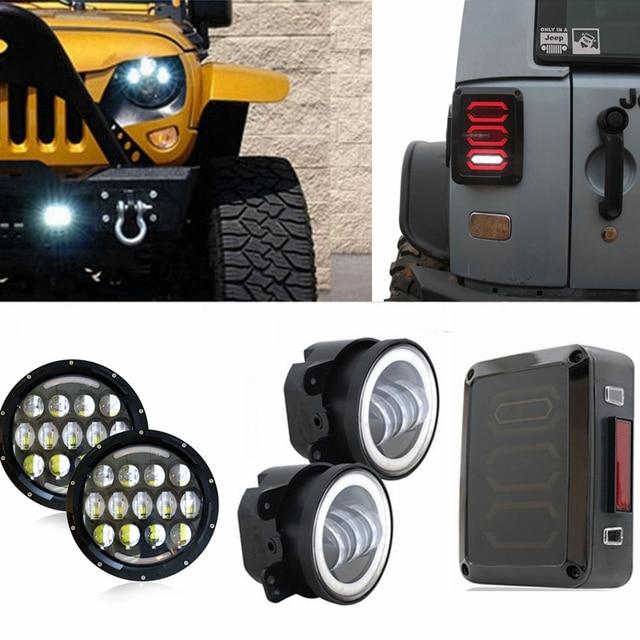 White 7  Round H4 LED DRL Headlight 105w + 4  Fog Light w/ & Aliexpress.com : Buy White 7