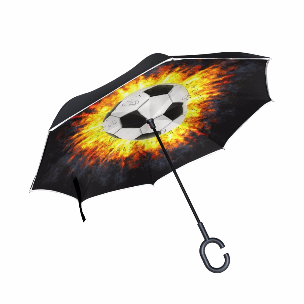 Burning Soccer Windproof Folding Double Layer Sun Men Rain Inverted Umbrella Reverse Umbrella Self Stand C-Hook Hand for Car