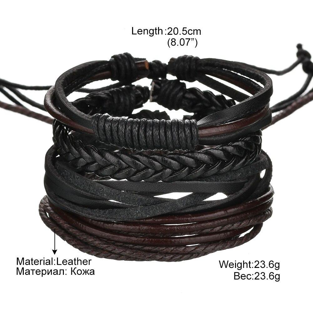 Vintage Handmade Feather Multilayer Leather Bracelet Sets Men Fashion Braiding Coffee Rope Wrap Bracelets & Bangles Male Gift