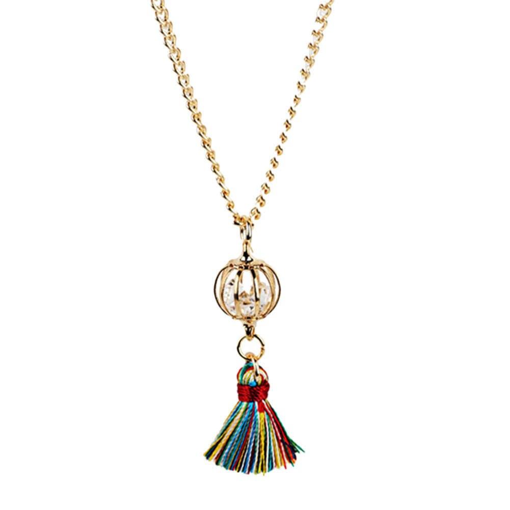 2018 新到着ファッションヴィンテージ合金金属ボールタッセルクリスタル Nacklace 女性ガールズジュエリー 7 色
