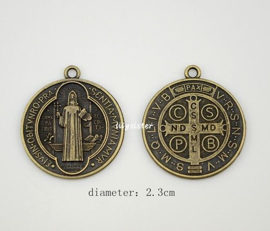 340c13d55c0 Catholic Religious Gifts saint St St. Benedict holy Medal Charm Pendant  Charms antique bronze plated diameter 2.3cm
