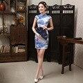 Spring Summer Elegant Embroidery Cheongsam for Women Fashion Female Vintage Slim Short Qipao Cheongsams Blue