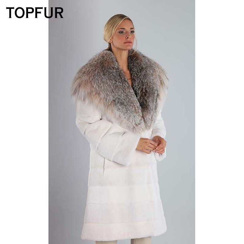 TOPFUR New Natural Real Mink Fur Coat Women 90 CM Long Winter Mink Fur Jacket Luxury White Color Coat With Big Fox Fur Collar