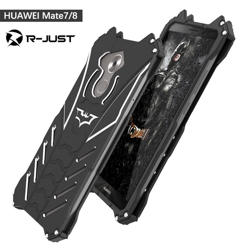 R-JUST For HUAWEI mate 7 mate 8 case Armor Heavy Duty Metal Aluminum BATMAN protect Skeleton head phone shell cases with bracket