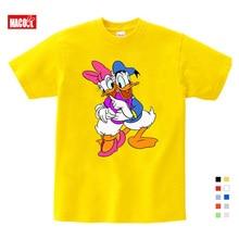 2019 Summer Short Sleeve Donald Duck Print T shirts Fashion White Top Children Clothing New Kids Sport T-shirt