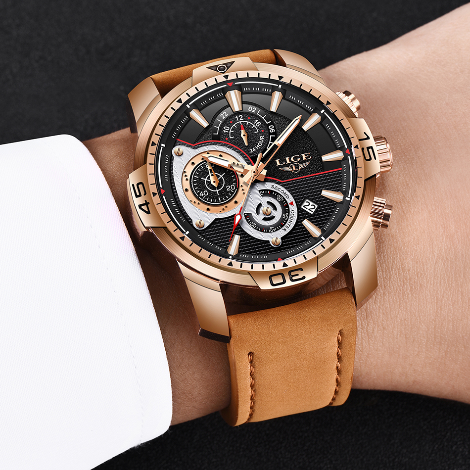 HTB1R5VtXJzvK1RkSnfoq6zMwVXaQ LIGE Mens Watches Top Brand Luxury Casual Leather Quartz Clock Male Sport Waterproof Watch Gold Watch Men Relogio Masculino