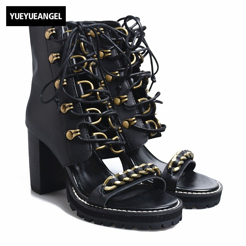 Runway Lace Up Block Heels Sandals Womens Street Black Punk Open Toe High Heels Summer Shoes Genuine Leather Platform Sandals