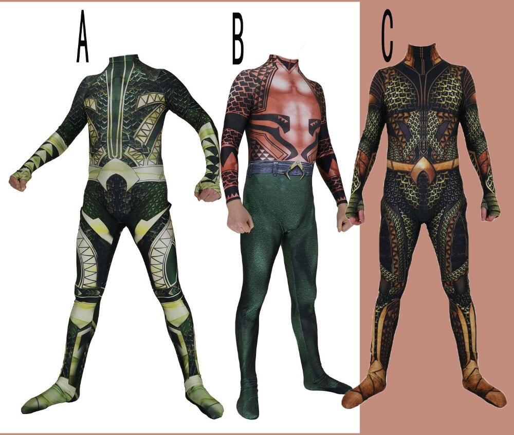 High Quality Justice League Aquaman Cosplay Costume Lycar Superhero Zentai Party Bodysuit Halloween Jumpsuit