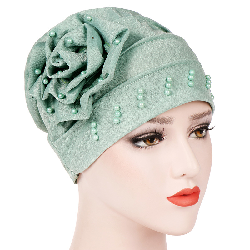 Women Cotton Beanie Flower  Muslim Turban Pearl Beaded Hair Loss Head Wrap Cancer Chemo Cap  Womens Hijab  Turban