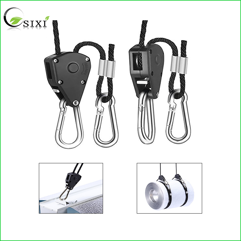 2Pcs Practical Rope Ratchet Lamp Hangers 150LB 1/8inch Ratchet Light Hangers Reflector Lifters For Led Grow Light Tent Lamp