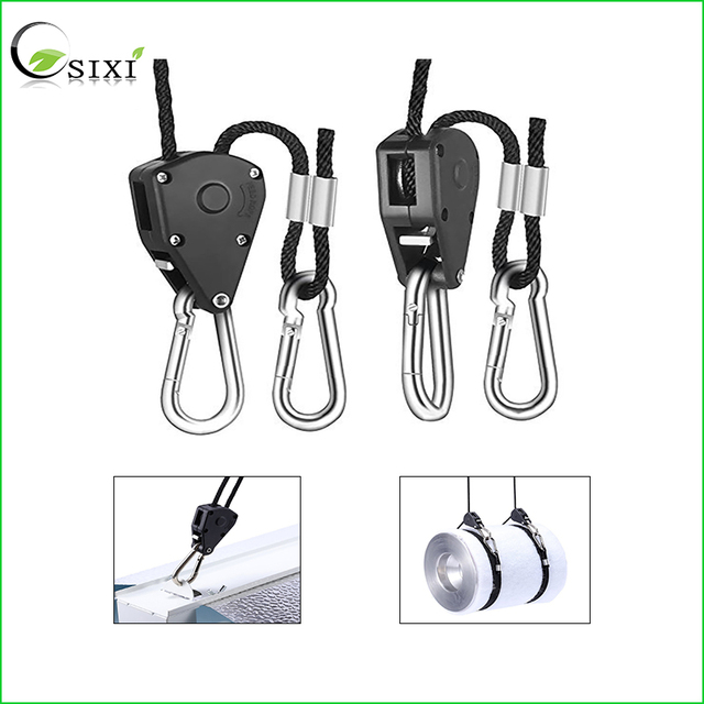 2Pcs Practical Rope Ratchet Lamp Hangers 150LB 1/8inch Ratchet Light Hangers Reflector Lifters for Led Grow Light Tent Lamp