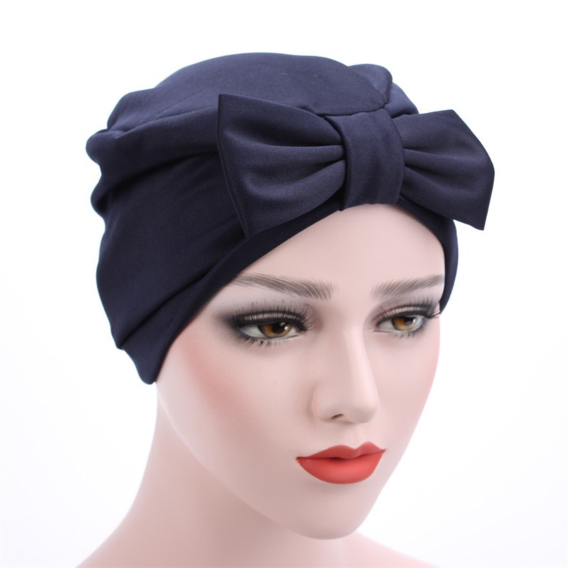 Women Hat India Headscarf Hats Ladies Muslim Bowknot Ruffle Cancer Chemo Beanie Scarf Turban Head Wrap Cap Pure Color Girls Caps