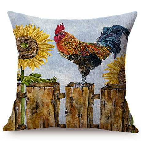 Colorful Cock Oil Painting Art Chicken Rooster Throw Pillow Cover Home Decorative Cotton Linen Sofa Cushion Cover Car Pillowcase M093-9