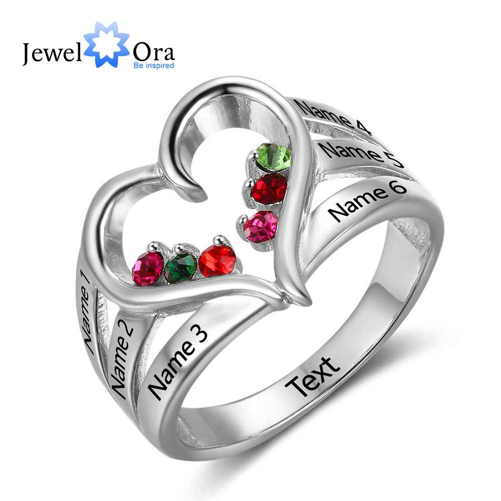 Jewelora Birthstone Ring Engagement-Rings Engrave 925-Sterling-Silver Love New Name Heart