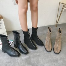 SWYIVY אביב מרטין מגפי נעלי נקבה קדמי רוכסן 2019 אביב חדש גבוהה למעלה אישה נעליים מזדמן עבה העקב עור מגפיים קטיפה