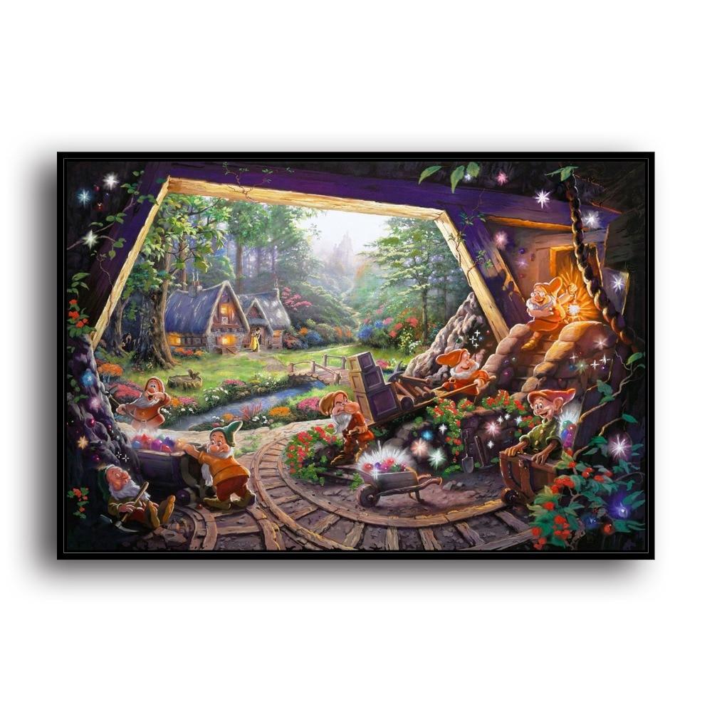 웃 유h1385 thomas kinkade snow white seven dwarfs hd canvas print
