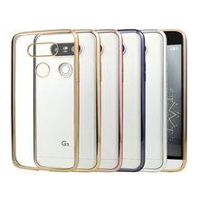 Capa de Silicone Para LG G5 G4 K10 K5 Tampa Transparente Chapeamento de Ouro Ultra Fino Claro Macio Tampa Traseira Para LG G5 K10 K5 G4 Coque