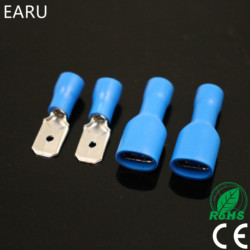 100pcs 50pairs 6.3mm 16-14AWG Female Male Electrical Wiring Connector Insulated Crimp Terminal Spade Blue FDFD2-250 MDD2-250