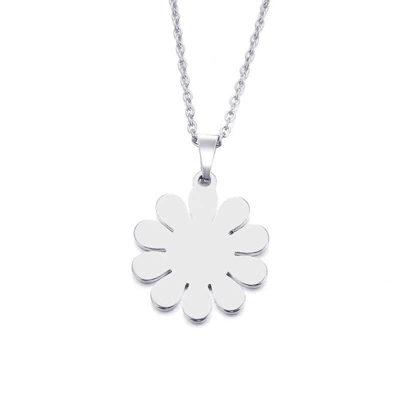 DOTIFI Stainless Steel Necklace For Women Man Lover's Sunflower Gold And Silver Color Pendant Necklace Engagement Jewelry