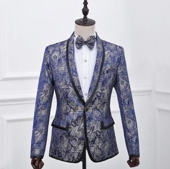 Blazer men formal dress latest coat pant designs suit men costume homme british style marriage wedding suits for men's blue
