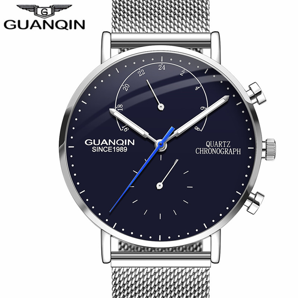 GUANQIN 2018 Mens Watches Top Brand Luxury Luminous Clock Men Creative Business Full Steel Quartz Wrist Watch relogio masculino migeer relogio masculino luxury business wrist watches men top brand roman numerals stainless steel quartz watch mens clock zer
