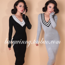 FREE SHIPPING 2015 New Winter Autumn Vintage Thick Knitted Warm Dresses Grey Black Deep V Neck Mid-Calf Solid Thick Vestidos