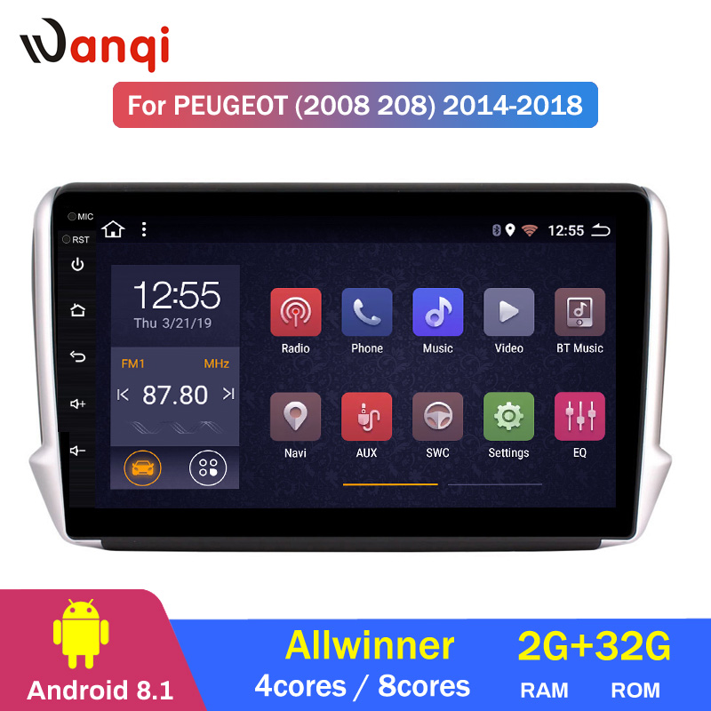 2G RAM 32G ROM 10.1 inch <font><b>Android</b></font> 8.1 Car GPS Multimedia For <font><b>Peugeot</b></font> 2008 <font><b>208</b></font> series 2014-2018 Navigation Player image