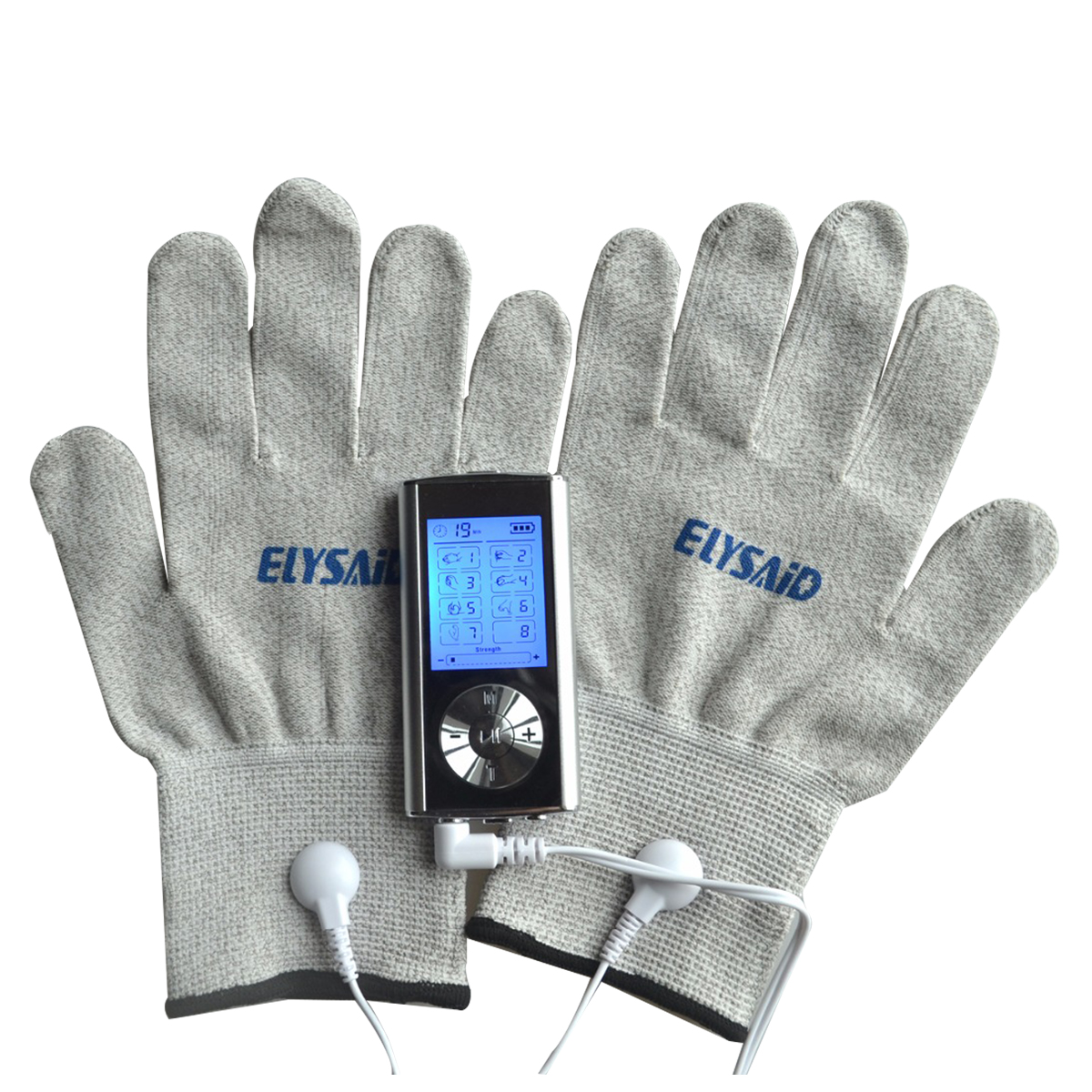 2 Channels Electrode TENS Massager Digital Therapy Machine Muscle Stimulator With 1Pair Conductive Silver Fiber Gloves