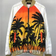 Coconut Tree Printed Designer Bomber Jacket Kpop Rockstar Stage Uniform Mens Unisex Satin Fabrics Stand Collar