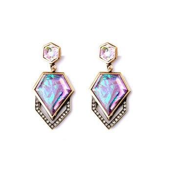 Multicolour Rhombus Gem Women's Stud Earring