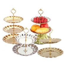 European Classical Style Fruit Cake Plates Stand Stainless Steel Party Candy Cupcake Tray For Serving Decorating Tool