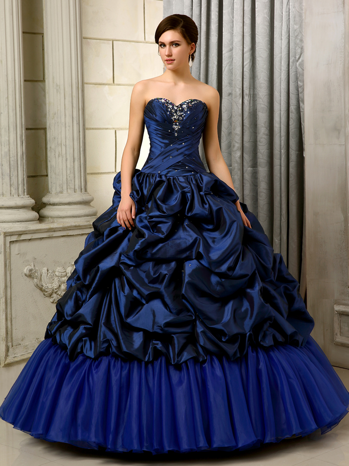 2016 Vintage Ball Gown Royal Blue Prom Quinceanera Dresses