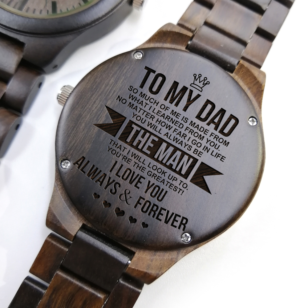 To My Dad - Timepieces Chronograph Military Quartz Engraved Wooden Watch Men Watches Father's Day Gift Wrist Watch Fashion