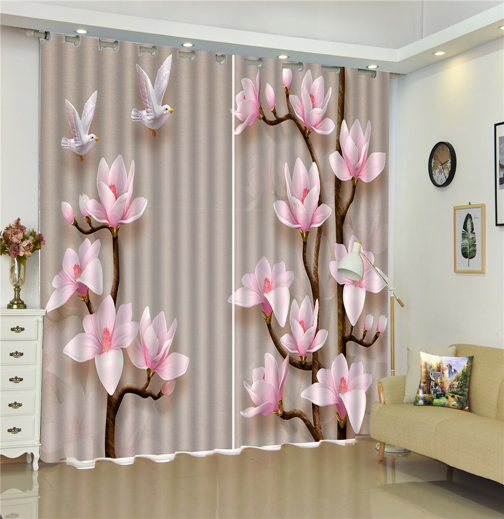 3d Curtain Two Delicate Magnolia Trees Living Room Bedroom Beautiful Practical Blackout Curtains