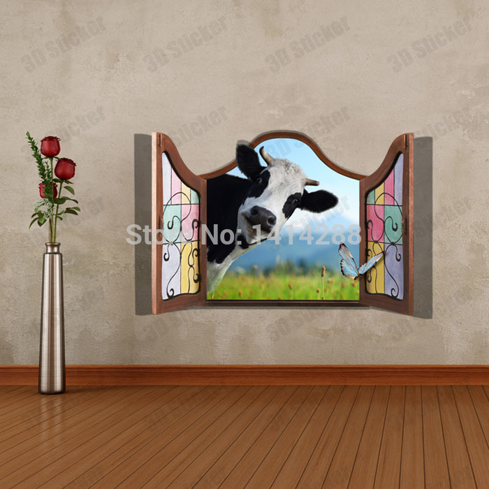 Kid birthday party Decoration 3D Three dimensional Home wall Stickers cow  ceiling floor Wallpaper wall painting-in Wall Stickers from Home & Garden  on ...