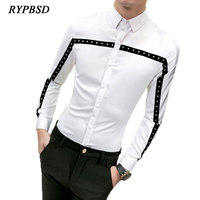2018 Spring Men Korean Fashion Punk Rivets Shirt Men Long Sleeve White Black Tuxedo Stage Men