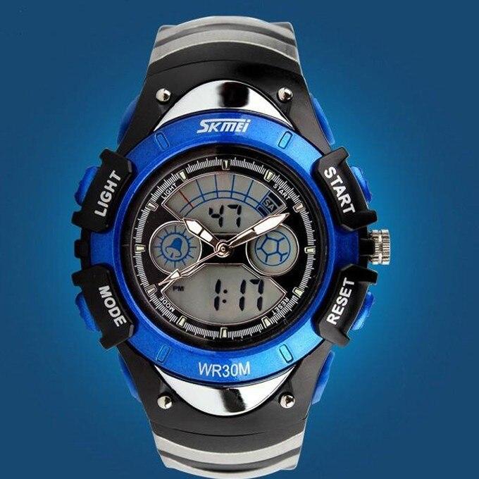 Fashion Children Watches Dual Time LED Digital Quartz Multifunctional 30m Waterproof Swim