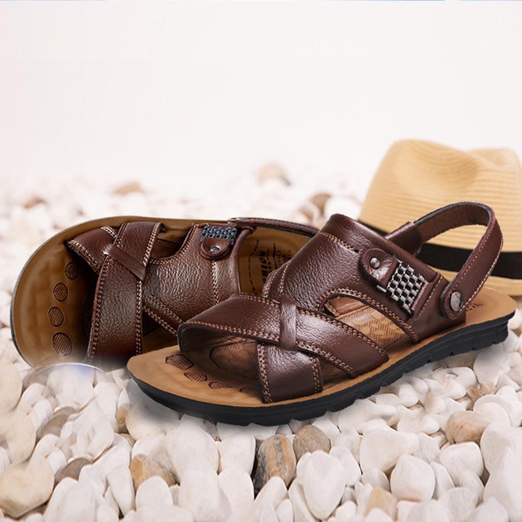 Mega Discount Sandals Men Shoes 2019 Men S Fashion Breathable Summer Shoes Leather Sandals Shoes Slides Outdoor Slippers Soft Sandals